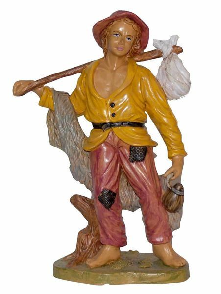 Picture of Shepherd with Stick cm 30 (12 inch) Euromarchi Nativity Scene Neapolitan style in wood stained plastic PVC for outdoor use