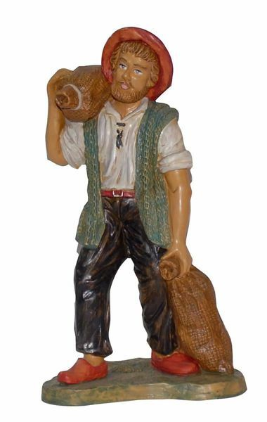 Picture of Shepherd with Bags cm 30 (12 inch) Euromarchi Nativity Scene Neapolitan style in wood stained plastic PVC for outdoor use