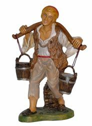 Picture of Shepherd with Buckets cm 30 (12 inch) Euromarchi Nativity Scene Neapolitan style in wood stained plastic PVC for outdoor use