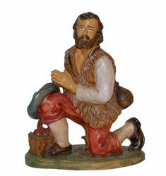 Picture of Kneeling Shepherd cm 30 (12 inch) Euromarchi Nativity Scene Neapolitan style in wood stained plastic PVC for outdoor use