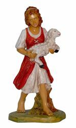 Picture of Shepherdess with Sheep cm 30 (12 inch) Euromarchi Nativity Scene Neapolitan style in wood stained plastic PVC for outdoor use