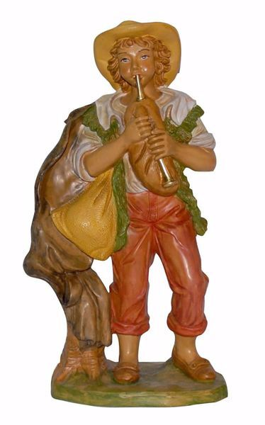 Picture of Shepherd with Flute cm 30 (12 inch) Euromarchi Nativity Scene Neapolitan style in wood stained plastic PVC for outdoor use