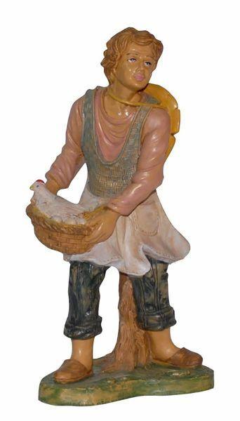 Immagine di Pastore con Gallina cm 30 (12 inch) Presepe Euromarchi in plastica PVC per esterno tinto legno Stile Napoletano