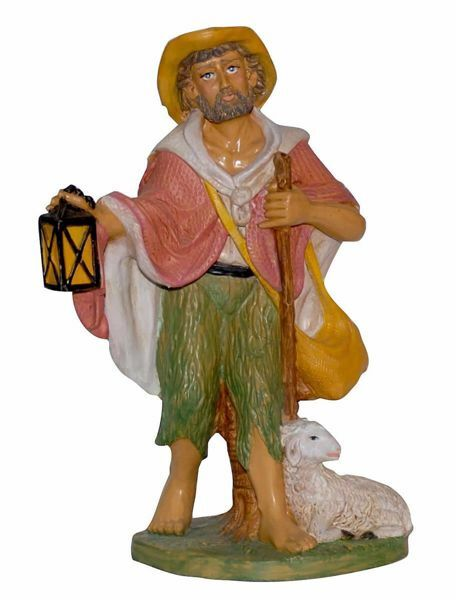 Picture of Shepherd with Lantern cm 30 (12 inch) Euromarchi Nativity Scene Neapolitan style in wood stained plastic PVC for outdoor use