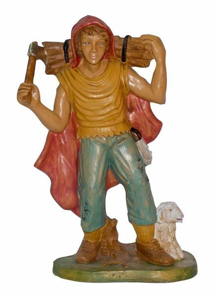 Picture of Shepherd with Wood cm 30 (12 inch) Euromarchi Nativity Scene Neapolitan style in wood stained plastic PVC for outdoor use