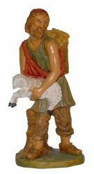 Picture of Shepherd with Sheep cm 30 (12 inch) Euromarchi Nativity Scene Neapolitan style in wood stained plastic PVC for outdoor use