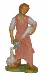 Picture of Shepherdess with Ducks cm 30 (12 inch) Euromarchi Nativity Scene Neapolitan style in wood stained plastic PVC for outdoor use