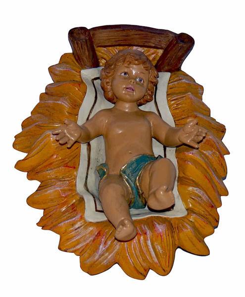 Immagine di Gesù Bambino in Culla cm 45 (18 inch) Lux Presepe Euromarchi in plastica PVC per esterno tinto legno Stile Tradizionale