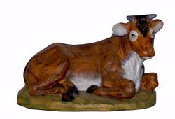 Picture of Ox cm 45 (18 inch) Lux Euromarchi Nativity Scene Traditional style in wood stained plastic PVC for outdoor use