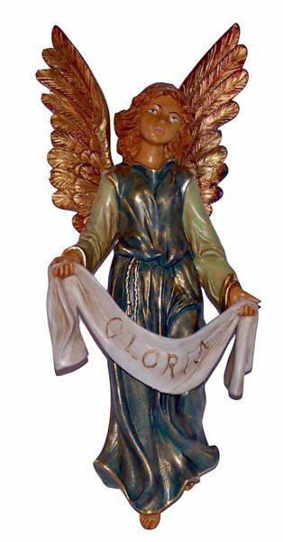 Immagine di Angelo Gloria cm 45 (18 inch) Lux Presepe Euromarchi in plastica PVC per esterno tinto legno Stile Tradizionale