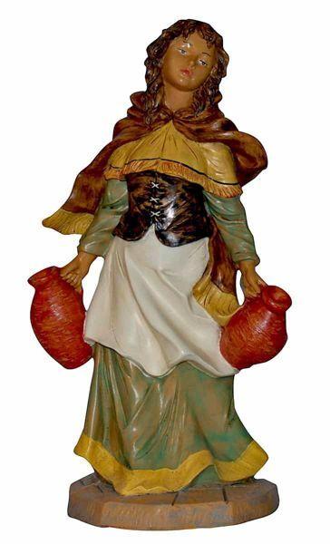 Imagen de Mujer con Jarras cm 45 (18 inch) Lux Belén Euromarchi Estilo Tradicional en plástico PVC efecto madera para exteriores