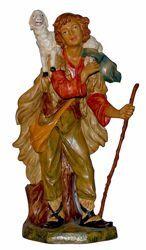 Immagine di Pastore con Pecora cm 45 (18 inch) Lux Presepe Euromarchi in plastica PVC per esterno tinto legno Stile Tradizionale