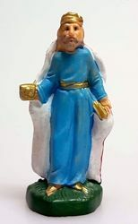 Picture of Caspar White Wise King cm 4 (1,6 inch) Pellegrini Nativity Scene small size Statue Bright Colors plastic PVC traditional Arabic indoor outdoor use