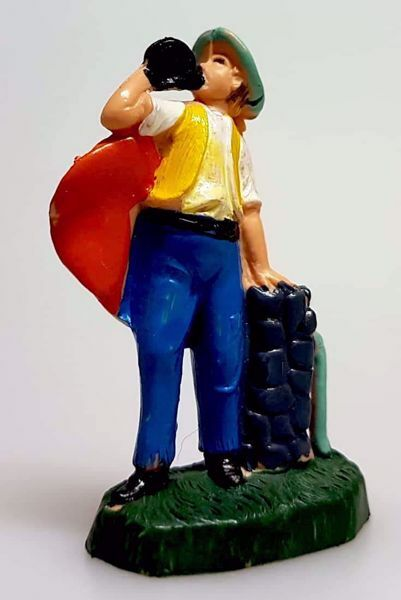 Immagine di Pastore alla Fontana cm 4 (1,6 inch) Presepe Pellegrini Colorato Statua in plastica PVC Arabo tradizionale piccolo per interno esterno