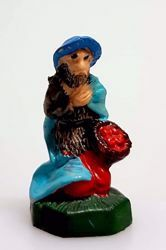 Picture of Shepherd begging for Alms cm 4 (1,6 inch) Pellegrini Nativity Scene small size Statue Bright Colors plastic PVC traditional Arabic indoor outdoor use