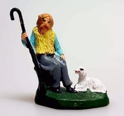 Picture of Shepherd sitting with stick cm 4 (1,6 inch) Pellegrini Nativity Scene small size Statue Bright Colors plastic PVC traditional Arabic indoor outdoor use