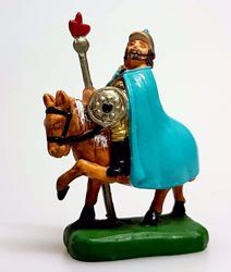 Picture of Soldier on a horse cm 4 (1,6 inch) Pellegrini Nativity Scene small size Statue Bright Colors plastic PVC traditional Arabic indoor outdoor use