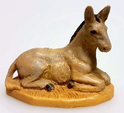 Picture of Donkey cm 4 (1,6 inch) Pellegrini Nativity Scene small size Statue Wood Stained plastic PVC traditional Arabic indoor outdoor use