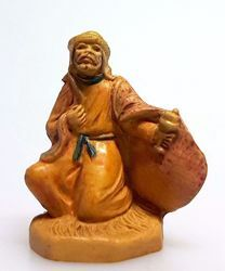Picture of Melchior Saracen Wise King cm 4 (1,6 inch) Pellegrini Nativity Scene small size Statue Wood Stained plastic PVC traditional Arabic indoor outdoor use