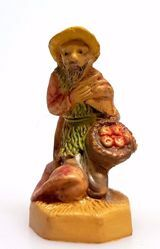 Picture of Shepherd begging for Alms cm 4 (1,6 inch) Pellegrini Nativity Scene small size Statue Wood Stained plastic PVC traditional Arabic indoor outdoor use