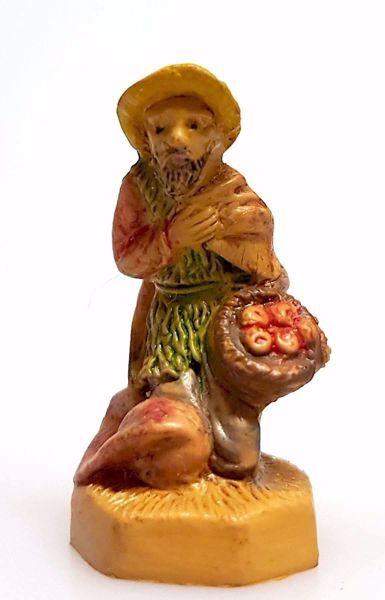 Immagine di Pastore che chiede l'Elemosina cm 4 (1,6 inch) Presepe Pellegrini Tinto Legno Statua in plastica PVC Arabo tradizionale piccolo per interno esterno