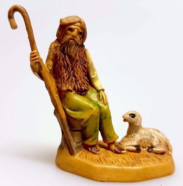 Immagine di Pastore seduto con bastone cm 4 (1,6 inch) Presepe Pellegrini Tinto Legno Statua in plastica PVC Arabo tradizionale piccolo per interno esterno
