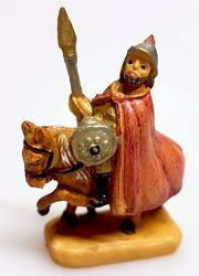 Picture of Soldier on a horse cm 4 (1,6 inch) Pellegrini Nativity Scene small size Statue Wood Stained plastic PVC traditional Arabic indoor outdoor use
