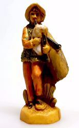 Picture of Bagpiper cm 4 (1,6 inch) Pellegrini Nativity Scene small size Statue Wood Stained plastic PVC traditional Arabic indoor outdoor use