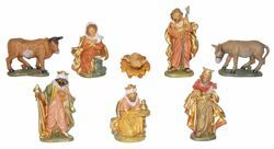 Imagen de Set Natividad Sagrada Familia 8 piezas cm 13 (5,1 inch) Belén Euromarchi Estilo Florencia en plástico PVC efecto madera para exteriores
