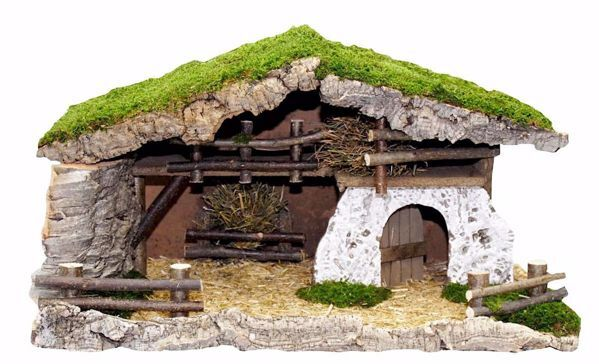 Picture of Stable cm 13 (51 inch) handmade Euromarchi Nativity Village setting in Wood Cork Moss