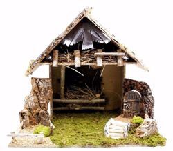 Picture of Stable cm 16 (63 inch) handmade Euromarchi Nativity Village setting in Wood Cork Moss