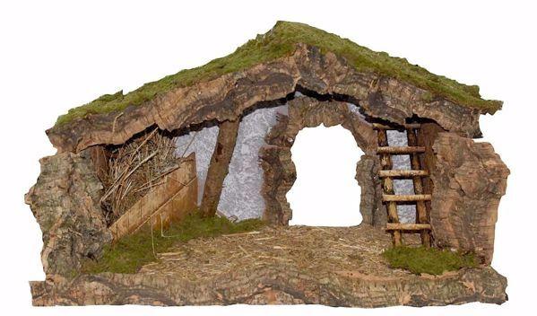 Imagen de Cabaña para Belén cm 12 (47 inch) Pueblo Euromarchi en Madera Corcho Musgo hecho a mano