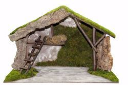 Picture of Stable cm 30 (118 inch) handmade Euromarchi Nativity Village setting in Wood Cork Moss