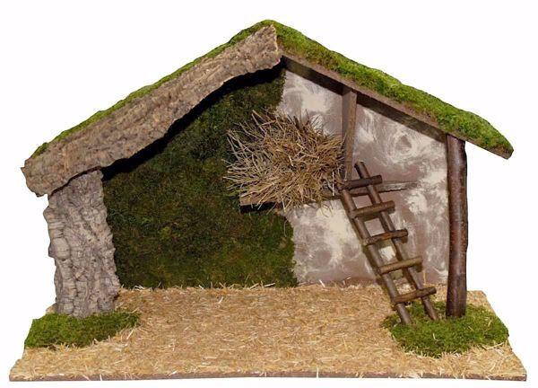Immagine di Capanna Presepe cm 20 (79 inch) Villaggio Euromarchi in Legno Sughero Muschio fatto a mano