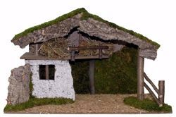 Picture of Stable cm 20 (79 inch) handmade Euromarchi Nativity Village setting in Wood Cork Moss