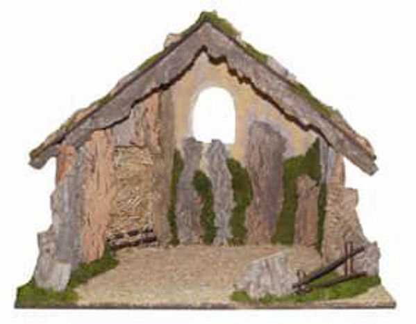 Picture of Stable cm 45 (177 inch) handmade Euromarchi Nativity Village setting in Wood Cork Moss