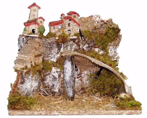 Picture of Landscape with Lights cm 10 (39 inch) handmade Euromarchi Nativity Village in Wood Cork Moss