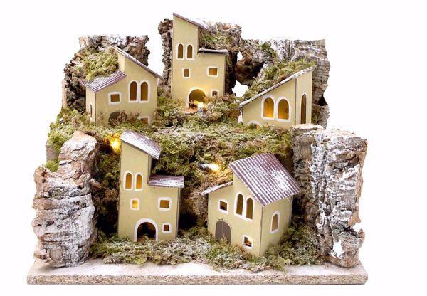 Imagen de Paisaje con Luces cm 10 (39 inch) Pueblo Pesebre Euromarchi hecho a mano en Madera Corcho Musgo
