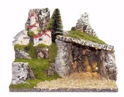 Immagine di Paesaggio con luci cm 10 (39 inch) Villaggio Presepe Euromarchi in Legno Sughero Muschio fatto a mano