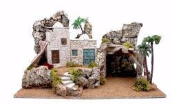 Picture of Arabic Landscape cm 10 (39 inch) handmade Euromarchi Nativity Village in Wood Cork Moss
