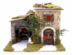 Immagine di Paesaggio con luci e fuoco cm 10 (39 inch) Villaggio Presepe Euromarchi in Legno Sughero Muschio fatto a mano