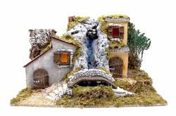 Picture of Landscape with Lights and Waterfall cm 10 (39 inch) handmade Euromarchi Nativity Village in Wood Cork Moss