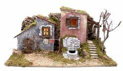 Immagine di Paesaggio con luci e fontana cm 10 (39 inch) Villaggio Presepe Euromarchi in Legno Sughero Muschio fatto a mano