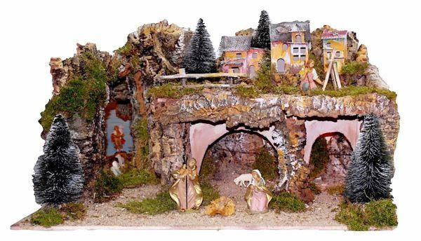Immagine di Set Natività Sacra Famiglia 8 Pezzi con Paesaggio cm 12 (47 inch) Villaggio Presepe Euromarchi con luci
