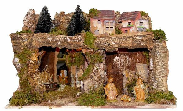 Picture of Nativity Set Holy Family 6 Pieces with Landscape cm 10 (39 inch) Euromarchi Nativity Village with Lights