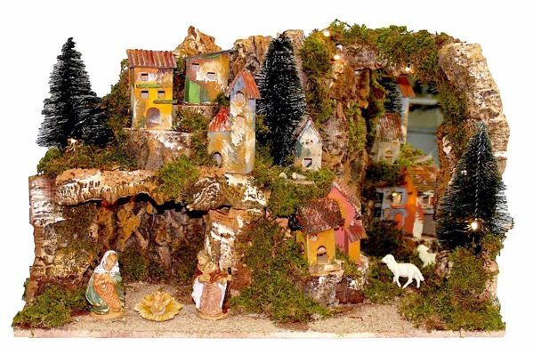 Picture of Nativity Set Holy Family 4 Pieces with Landscape cm 10 (39 inch) Euromarchi Nativity Village with Lights