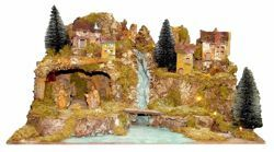 Picture of Nativity Set Holy Family 3 Pieces with Landscape cm 10 (39 inch) Euromarchi Nativity Village with Lights and Waterfall