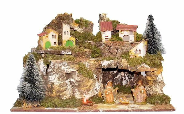 Picture of Nativity Set Holy Family 3 Pieces with Landscape cm 10 (39 inch) Euromarchi Nativity Village with Lights and Fire