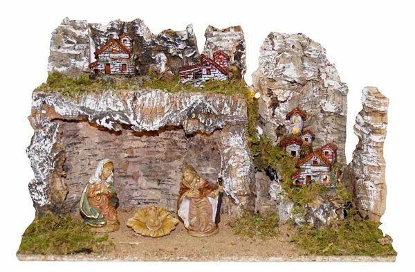 Immagine di Set Natività Sacra Famiglia 3 Pezzi con Paesaggio cm 10 (39 inch) Villaggio Presepe Euromarchi con luci