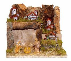 Picture of Nativity Set Holy Family 3 Pieces with Landscape cm 10 (39 inch) Euromarchi Nativity Village